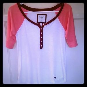 Abercrombie & Fitch Button-Up Multi-Colored Tee
